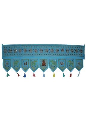 Ethnic Embroidery Work Design Hand Mirror Work Cotton Window Valance 55 X 19 ...