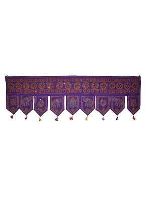 Handmade Jaipuri Embroidered Art Desing Cotton Door Hanging 55 X 19 Inches