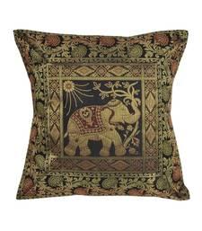 Lal Haveli Black Color Elephant Design Decorative Square Silk Cushion Cover 16 x 16 inch