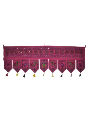 Embroidered Mirror Work Design Cotton Door Hanging 55 X 19 Inches