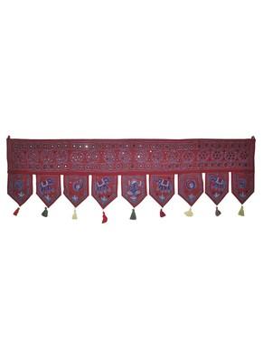 Jaipuri Mirror Embroidery Work Desgin Cotton Toran Tapestry 55 x 19 Inches