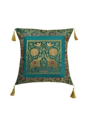 Lal Haveli Elephant Design Single Silk Cushion Cover for Sofa/Diwan/Car 18 x 18 inch