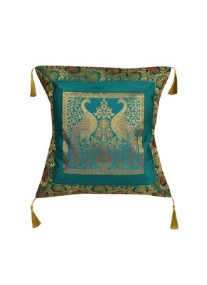 Lal Haveli Peacock Design Decorative Silk Cushion Cover 18 x 18 inch