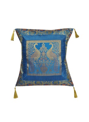 Lal Haveli Turquoise Color Square Shape Single Cushion Cover for Sofa Decorations 18 x 18 inch