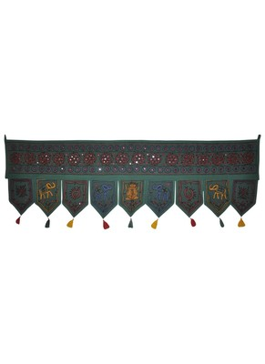 Lalhaveli Ethnic Mirror Work Design Handmade Elephant Embroidery Cotton Door ...