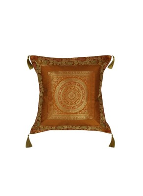 Lal Haveli Home Decorative Handmade Single Cushion Cover Silk Fabric 18 x 18 inch