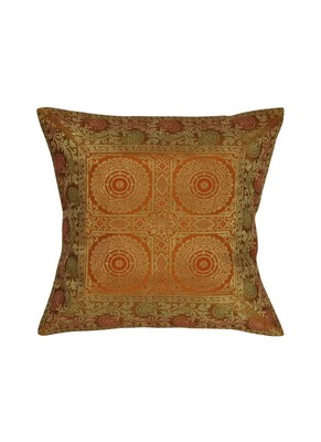 Lal Haveli Living Room Decor Square Shape Silk Single Cushion Cover 16 x 16 inch