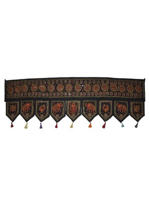 Lalhaveli Vintage Mirror Work Design Embroidered Home D?cor Cotton Door Hangi...
