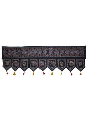Indian Hand Elephant Embroidery Work Design Mirror Work Cotton Door Hanging 5...