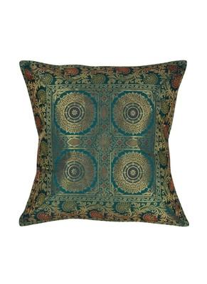 Lal Haveli Rajasthani Handmade Decorative Silk Fabric Single Cushion Cover 16 x 16 inch