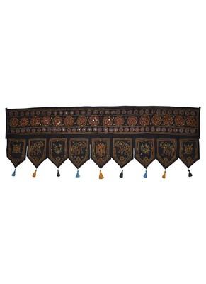 Handcrafted Mirror Work Design Handmade Embroidery Cotton Door Hanging Toran ...