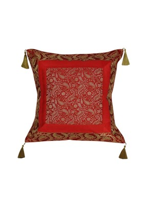 Lal Haveli Square Shape Silk Single Cushion Cover 18 x 18 inch