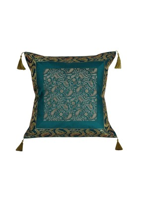Lal Haveli Jaipuri Handmade Decorative Silk Fabric Green Color Single Cushion Cover 18 x 18 inch