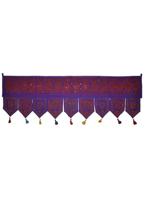 Ethnic Embroidered Work Design Handmade Mirror Work Cotton Door Hanging 55 x ...
