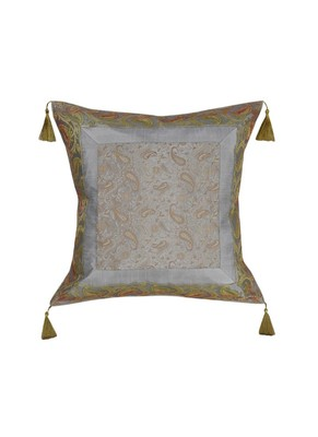 Lal Haveli Silk Fabric Square Shape Grey Cushion Cover 18 x 18 inch