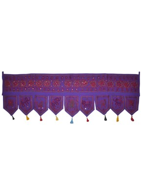 Lalhaveli Vintage Mirror Work Design Embroidered Home D?cor Cotton Door Hangi...