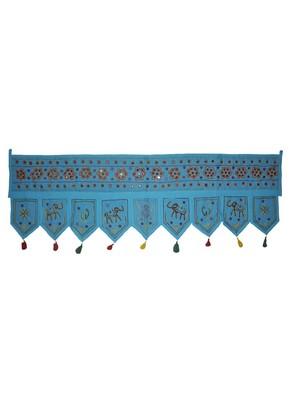 Handmade Embroidery Design Rajasthani Mirror Work Cotton Door Hanging 55 x 19...