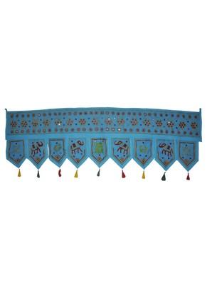 Elephant Embroidery Design Handmade Mirror Work Cotton Door Hanging 55 x 19 I...