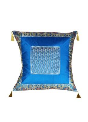 Lal Haveli Handmade Silk Fabric Decorative Turquoise Cushion Covers 24 x 24 inch