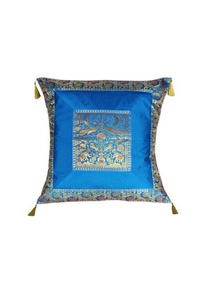 Lal Haveli Elephant & Peacock Design Square Shape Silk Cushion Cover 24 x 24 inch