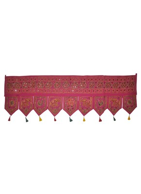 Jaipuri Handmade Elegant Mirror Work Design Cotton Door Hanging 55 x 19 Inches