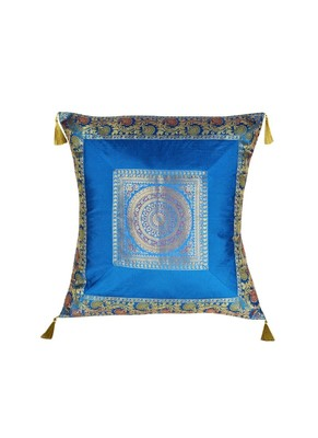 Lal Haveli Designer Throw Pillow Silk Cushion Cover Sofa Decor 24 x 24 inch