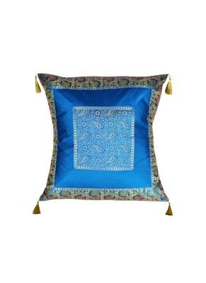 Lal Haveli Rajasthani Handmade Decorative Design Silk Cushion Cover 24 x 24 inch