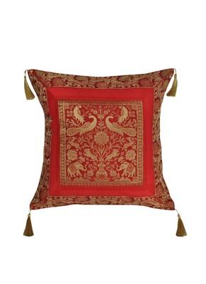 Lal Haveli Peacock & Elephant Design Square Shape Silk Cushion Cover 18 x 18 inch
