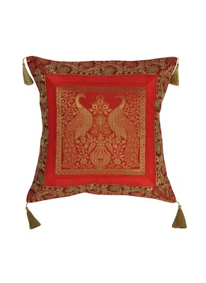 Lal Haveli Rajasthani Handmade Elephant & Peacock Design Square Single Silk Cushion Cover 18 x 18 inch