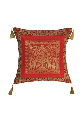 Lal Haveli Elephant & Peacock Design Home Decor Silk Cushion Cover 18 x 18 inch
