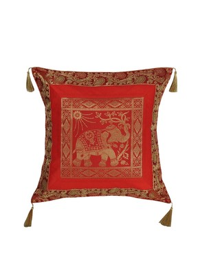 Lal Haveli Living Room Decor Silk Fabric Square Shape Red Cushion Cover 18 x 18 inch
