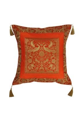 Lal Haveli Square Shape Designer Silk Fabric Single Cushion Cover 18 x 18 inch