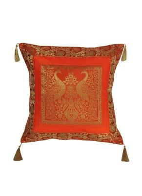 Lal Haveli Handmade Peacock Design Silk Cushion Cover 18 x 18 inch