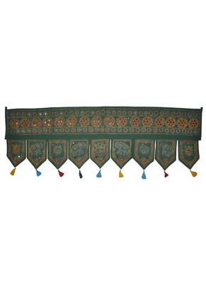 Handcrafted Elegant Mirror Work Design Handmade Embroidery Cotton Door Hangin...