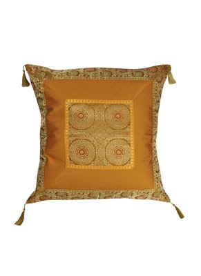 Lal Haveli Designer Silk Fabric Throw Pillow Square Cushion Cover 24 x 24 inch