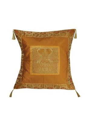 Lal Haveli Peacock Design Silk Cushion Cover 24 x 24 inch