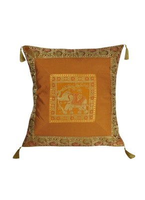 Lal Haveli Rajasthani Handmade Elephant Design Silk Cushion Cover 24 x 24 inch