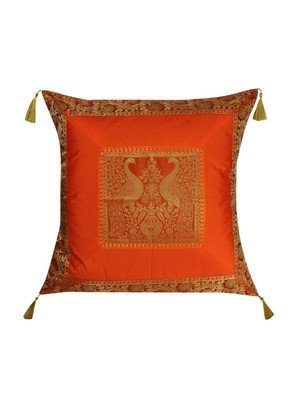 Lal Haveli Peacock Design Throw Pillow Square Shape Silk Cushion Cover 24 x 24 inch