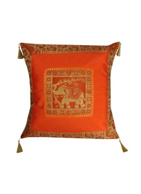 Lal Haveli Elephant Design Sofa Decorations Square Shape Silk Cushion Cover 24 x 24 inch
