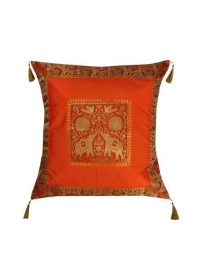 Lal Haveli Orange Color Elephant Design Silk Throw Pillow Cushion Cover 24 x 24 inch