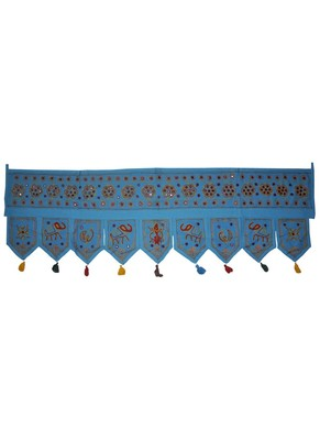 Traditional Handmade Ethnic Mirror Work Design Elephant Embroidery Cotton Doo...
