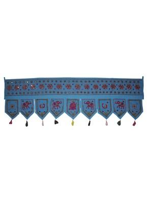 Handmade Mirror Work Design Traditional Elephant Embroidery Cotton Door Hangi...
