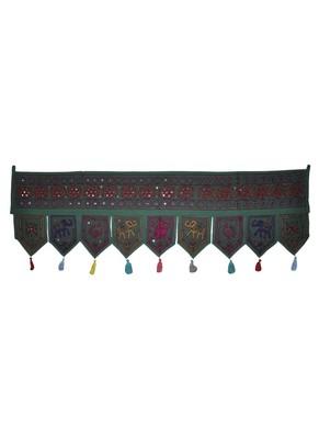 Vintage Embroidery Design Indian Hand Art Mirror Work Cotton Door Toran 55 x ...