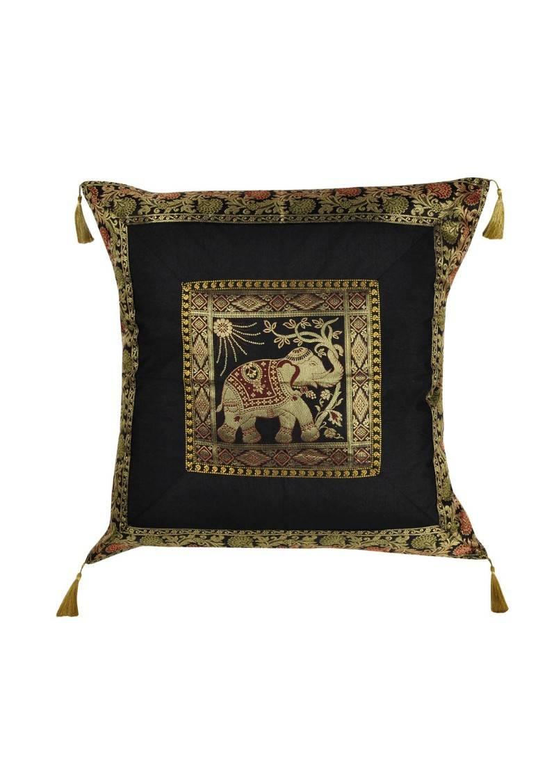Lal Haveli Elephant Design Handmade Silk Throw Pillow Cushion Cover 24 X 24 Inch Lal Haveli 2765233