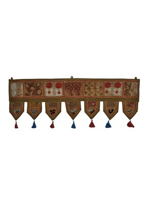 Lalhaveli Hand Embroidered Work Design Patchwork Toran Hanging 39 X 16 Inches