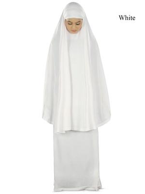 MyBatua White Khimar And Long Skirt Dua Prayer Set - Soft Viscose Jersey