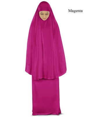 MyBatua Magenta Khimar And Long Skirt Dua Prayer Set - Soft Viscose Jersey