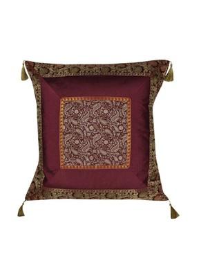 Lal Haveli Home Decor Paisley Silk Cushion Cover 24 x 24 Inch