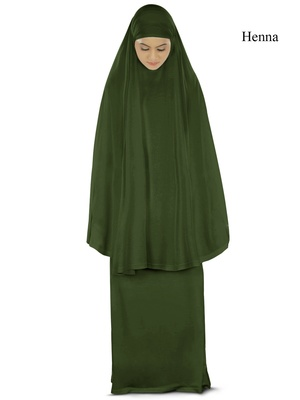 MyBatua green Khimar and long skirt Dua Prayer Set - Soft Viscose Jersey