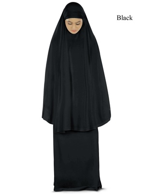 MyBatua black Khimar and long skirt Dua Prayer Set - Soft Viscose Jersey